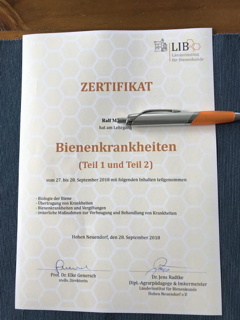 Zertifikat Teilnahme Fortbildung Bienenkrankheiten